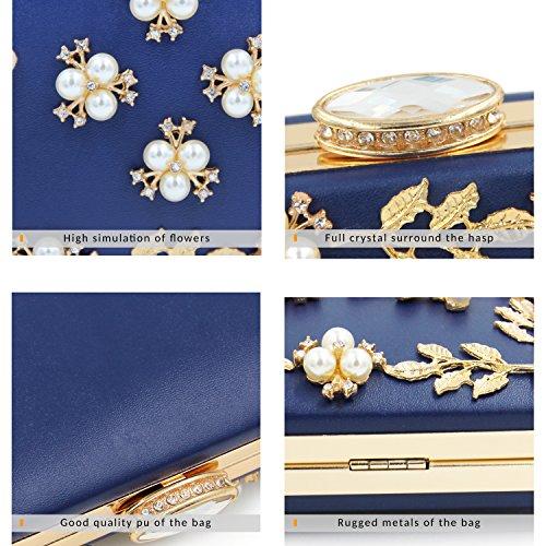 5475a8a802508 ... Milisente Frauen Perle Wulst Blumen Clutch Tasche Damen Abendtaschen  Hochzeit Handtasche (Rosa) Blau ...
