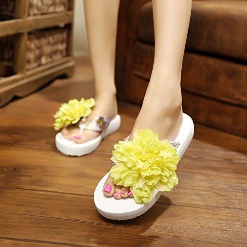 Butterme Femmes Floral Été Satin Wedge Tongs avec Fleur DIY Décorer Bohème Sandales Plage Chaussures Sandale Beige et vert