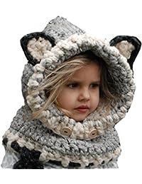 da67ccd25d4c Fancyland Bonnet de Laine Tricote Renard Ensemble Bonnet Echarpe Hiver pour  Enfant Unisexe pour 1-