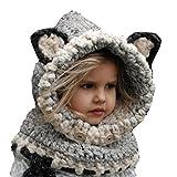 Fancyland Bonnet de Laine Tricote Renard Ensemble Bonnet Echarpe Hiver pour Enfant Unisexe pour 1-4 Ans (Fox-Grey)