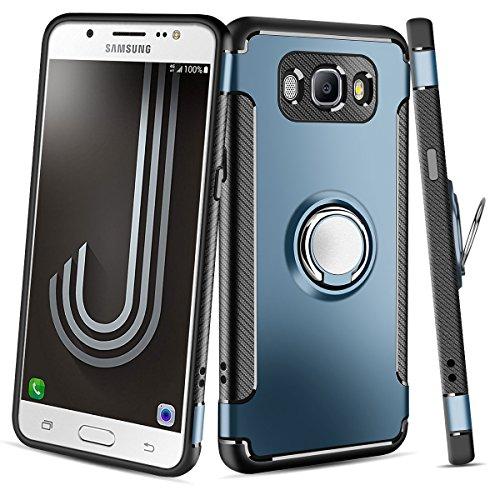 Coque Galaxy J7 2016 ,Coolden Housse de protection 360 degrés Bague Kickstand Plaque de métal Support Étui Défenseur Double couche Anti-Drop Anti-rayures Couverture de téléphone Pour Samsung Galaxy J7 2016 Marine