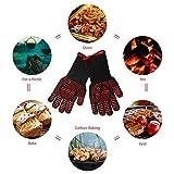 Grillhandschuhe, für den heimischen Backofen bbq Isolierung flammhemmende Handschuhe mit verdickter Umwelt Silikon bis tp 500 ° C Aramid Handschuhe 33cm ein Paar