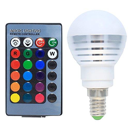 LED Lampen 3W Dimmbar E14 RGB mit Farbwechsel, 120° Abstrahlwinkel, 16 Farbe zur Auswahl, inklusive Fernbedienung