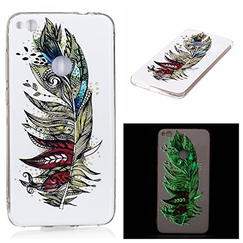 Coque Huawei P10 Lite Transparent,Flexible Souple Case pour Huawei P10 Lite,Ekakashop Jolie Plumes Colorées Design Ultra Mince Coque de Protection en TPU Silicone Crystal Clair Souple Gel Housse Prote Plume Luminous