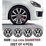 4PCS 56 mm VW Volkswagen Wheel Center Hub Caps Emblem Badge Decals Sticker (Black)