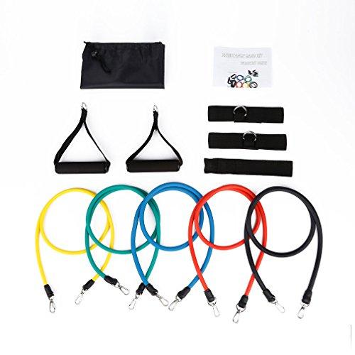 Outad resistenza bande, 11 pezzi set di crossfit fitness bande palestra elasticizzato con 5 resistenza bande, 2 manici, 2 cinturini caviglia, door anchor, borsa per il trasporto
