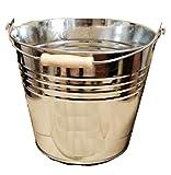 Cubo galvanizado resistente, de acero, bandeja de ceniza, mango de madera, 12 l