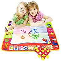 ALANGDUO Kids Water Doodle Mats, Children Magic Water Drawing Mats Baby Painting Writing Board with 3 Water Pens and Molds, Kids Educational Toys Gifts for Boys Girls