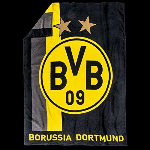 BVB Fleecedecke mit Streifenmuster / hochwertige Wohndecke / Kuscheldecke mit Streifen von Borussia Dortmund