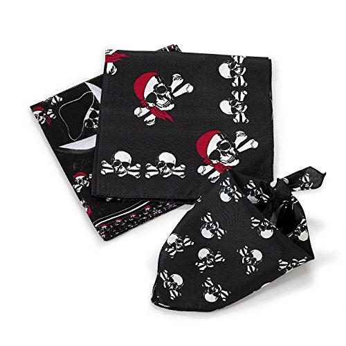 cama24com Piraten Bandana Kopftuch 12 Stück 3 Motive Piratenparty mit Palandi® Sticker