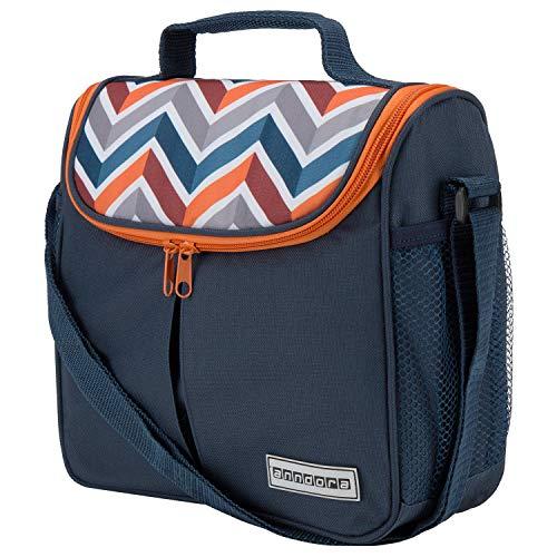 anndora Mini Kühltasche 4 Liter Vespertasche lunchbag - dunkelblau orange