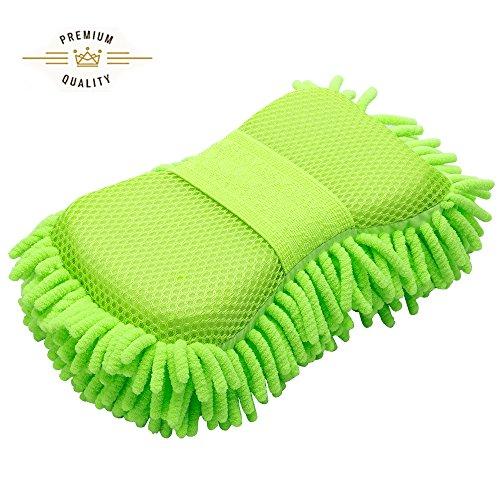 FMS Mikrofaser Autoschwamm Autowäsche Schwamm Reinigungsschwämme Waschhandschuh Weich Korallen Autowaschhandschuh Autowäsche Chenille 1 Stück (Green)