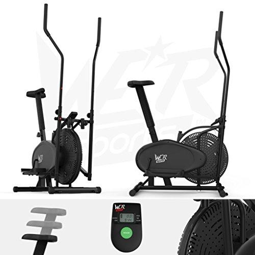 2-In-1 Ellittico Attraversare Allenatore &Amp; Esercizio Bici Fitness Cardio Allenamento Con Sede (Nero)