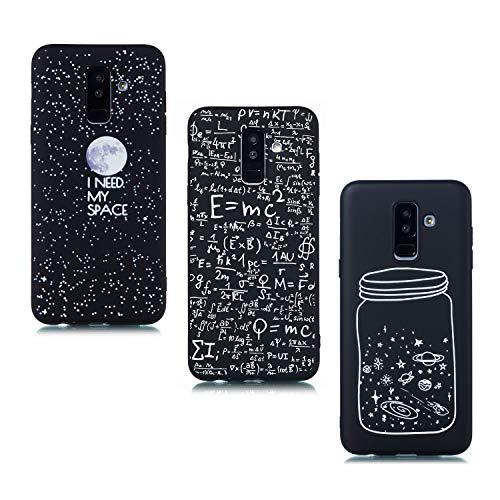 ChoosEU kompatibel mit 3 Hüllen Samsung Galaxy A6 Plus 2018 Hülle Silikon Muster Schwarz Handyhülle für Mädchen Frau Mann, Dünn Silikonhülle Bumper Stoßfest Case Schutzhülle - Mond Digital Flasche Samsung Digital Handy
