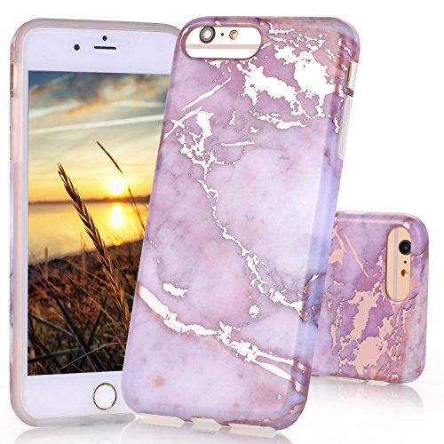 Coque iPhone 7, Coque iPhone 8, JIAXIUFEN Silicone TPU Étui Housse Souple Antichoc Protecteur Cover Case - Noir Or Marbre Désign Shiny Rose Gold Purple