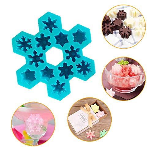 U.Expectating DIY kreative Eiswürfelform, Stern Schneeflocke Eiswürfelbereiter Eiswürfelform für Schokolade Schimmel, Süßigkeiten Schimmel, Cupcake Backform (Blau)