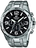 Edifice EFR-538D-1AVUEF Men's Quartz Watch with Black Dial Analogue Display and Silver Stainless Steel Bracelet