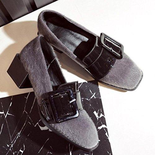 COOLCEPT Femmes Mode Boucle Belt Talon bas Escarpins Brogues Flocking Chaussures Gris