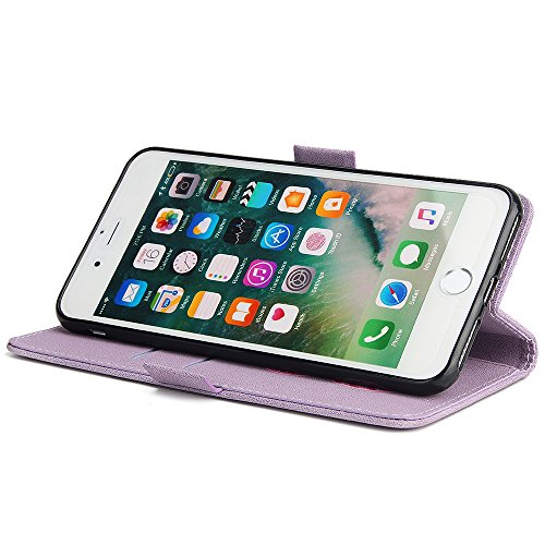 EUWLY Lanyard Portafoglio Cover in Pelle per iPhone 7 Plus/iPhone 8 Plus (5.5) Cover Bumper ,Nuovo Divertente/Carina/Moda Retro Custodia [Elefante, Retro Totem] Goffratura Motivo Modello Cover Case I Viola