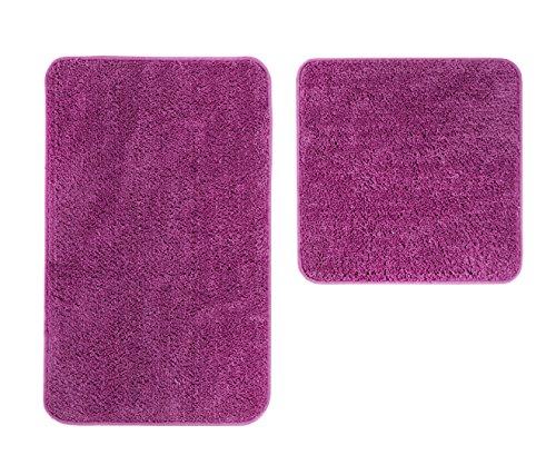 andiamo Microfaser Badteppich Größen-Oeko-Tex 100-Badvorleger-2er Set Badematte, Polyester, lila, 50x80 cm + 50x50 cm