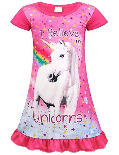Jurebecia Unicornio Pijama Vestidos camisón con Manga Corta en Vestido para niñas 7-8 años