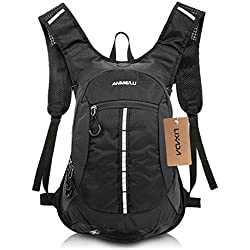 (Solid Black) - Bike Backpack Lixada 15L Bicycle Shoulder Backpack Waterproof Breathable Rucksack for Outdoor Travel Riding Hiking Mountaineering Climbing with Rain Cover