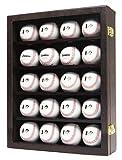 JackCubeDesign 20 Baseball-Vitrine Wandhalterung Ledergehäuse Holzregal Aufbewahrungsbox aus Acryl mit Schutzknopf 2 (braun, 36 x 10 x 45,7 cm) -: MK104D