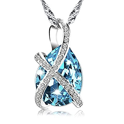 Mothers Day Gift Pealrich Silver Teardrop White Gold Plated Pendant Aquamarine Necklace for Women, Made with Swarovski Light Blue Crystal Elements 18