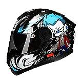 HJL Material ABS Casco aerodinámico Diseño Casco de Motocicleta Casco de Hombre Casco de Cara Completa Casco Four Seasons (Color : Azul, Tamaño : XL)