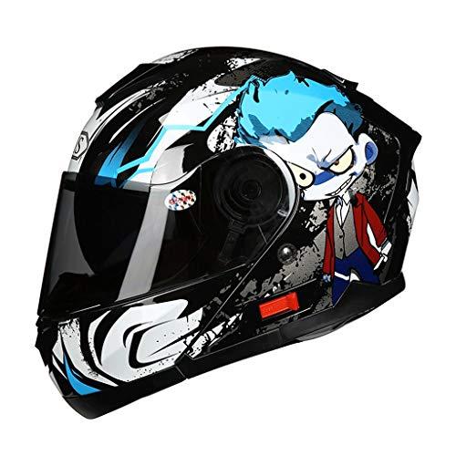 Casco moto aerodinamico in materiale ABS Design Casco moto Casco integrale casco da uomo Casco Four Seasons (colore : Blu-XL)