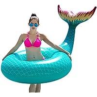 Jasonwell Cola de Sirena Hinchable colchonetasTubo de piscina Flotador Gigante de 120cm Flamenco para Piscina Juguete Veraniego Inflable Juguete para Fiestas de Piscina con Válvulas Rápidas Verano Nadar Piscina Agua Anillo Balsa Océano Lago Río Exterior para Niños Adultos Niñas