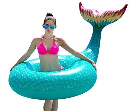 Jasonwell Cola de Sirena Hinchable colchonetas Tubo de Piscina Flotador Gigante de 120cm Veraniego Inflable Juguete para Fiestas Piscina Verano Nadar Piscina Océano Lago para Niños Adultos Niñas