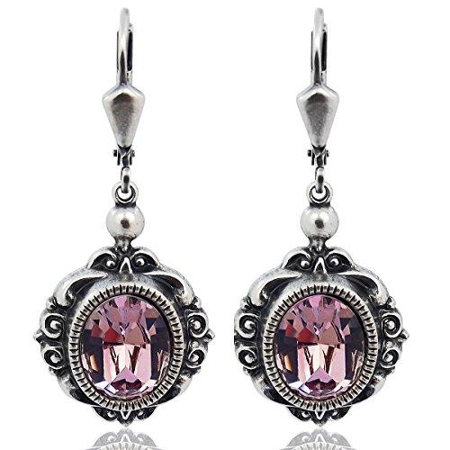 Vintage Ohrringe mit Kristallen von Swarovski® Silber Violett Lila NOBEL SCHMUCK (Schmuck Antik)