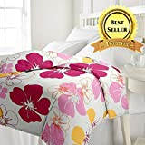 TRUSTFUL Cotton Pink Flowers Design Print Single Bed Reversible AC Blanket | Dohar | Quilt | Comforter | Duvet (Polycotton, Multicolor)