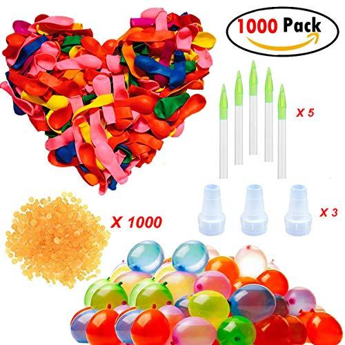 Clerfy Acc Magic Water Balloons, Globos de Agua, Bombas de Agua, Incluye 1000 Globos, 1000 Bandas de Goma y 5 aplicadores de Juguete