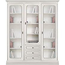 Mueble vitrina de salón o comedor, mueble con puertas de vidrio y cajones, vitrina de madera blanca