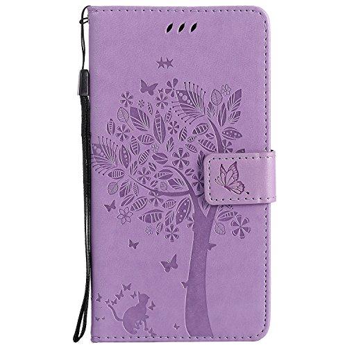 HTC Desire 830 Hülle, Chreey Prägung [Katze Baum] Muster PU Leder Hülle Flip Case Wallet Cover mit Kartenschlitz Handyhülle Etui Schutztasche [Hell lila]