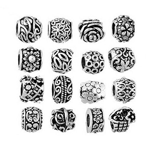 godagoda-mixte-couleur-argent-vieilli-motif-grave-perles-europeennes-pour-bracelet-lot-de-16pcs