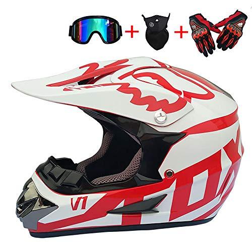 ZHYY Erwachsener MX Helm Motocross Helm Dirt Bike Motorrad ATV Helm AM Mountainbike DOT Helm mit Handschuhen Sturmmaske und Brille Motocross ATV Offroad-Langstreckenrennen,S
