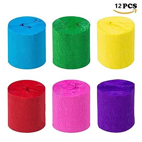 Crepe Paper Craft Streamers Décorations Suspendues Pour Divers Fêtes d'anniversaire Festival de Mariage Décorations de Fête 6 Couleurs (12 rouleaux)