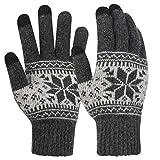 Novawo Unisex Gestrickte Touchscreen Schneeflocken-Handschuhe, Vollfingerhandschuhe