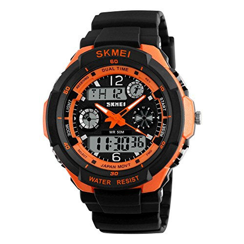 SKMEI Herren Armbanduhr 50m Wasserdicht Sport Outdoor Bergsteigen oder Wandern Uhren LED Digital Armbanduhr für Kinder Kinder Boy Herren, Orange Shell, Large