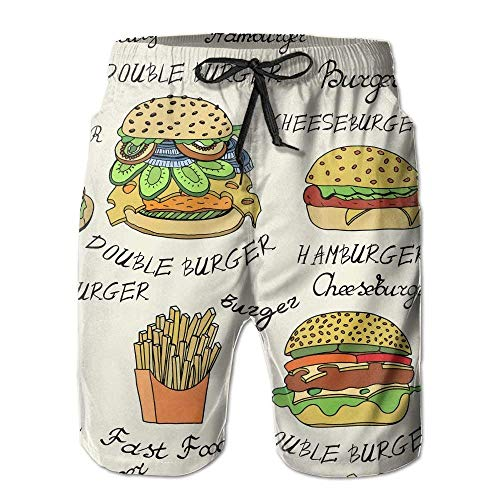 KLYDH Beach Yoga Pants, Cheese Burger Swimming Beach Board Shorts for Men Boys, Outdoor Short Pants Beach Accessories, White,Size:X-Large -