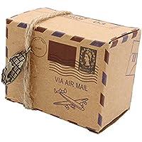 Cikuso 25 unids Nuevo Sello Diseno Chocolate Kraft Caramelo Caja Vintage Kraft Regalo Caja de favores