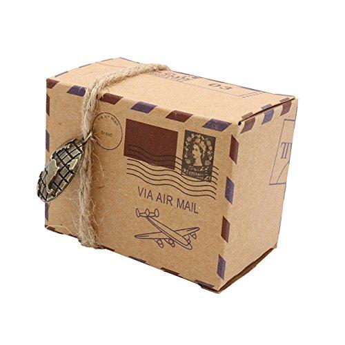 Cikuso 25 Stueck Hochzeit Stempel Design Schokolade Kraft Pralinenschachtel Vintage Kraft Geschenk Box Gefaelligkeiten und Hochzeit Supplies Party Bag Supplies Earth (Gefälligkeiten Hochzeit-boxen Für)