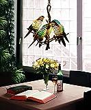 Vintage Makernier estilo Tiffany de vidriera con ramas de árboles 5brazos loros lámpara de araña