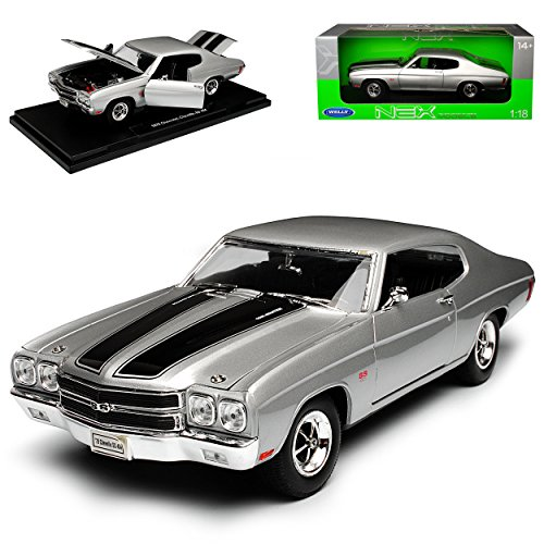 Welly Chevrolet Chevy Chevelle SS454 Coupe Silber mit Schwarz 2. Generation 1968-1972 1/18 Modell Auto - Chevy 1968 Chevelle
