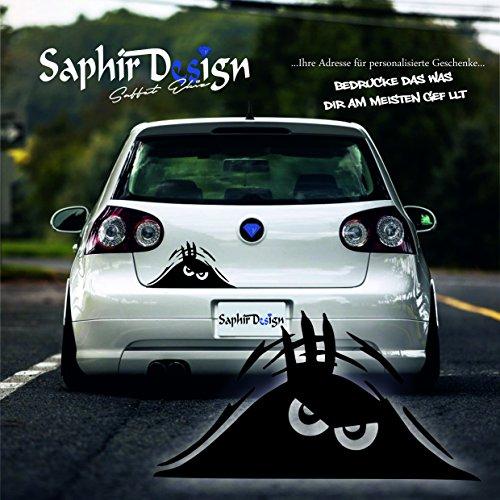 Monster / Böser Blick - Sehr Coole - Aufkleber - Tuning Autoaufkleber A93 / 19x10cm Hochleistungsfolie in der Farbe Weiß