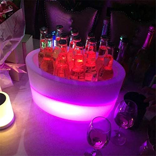 Nine-tailed fox Eiskübel, Kreative LED-Kühler Eimer Licht Bunte Lade Bar Champagner Eimer, KTV Bierfass Fernbedienung Lade Bar Eiskübel PE Anti-Fall 12 Sticks Barrel (Color : N)