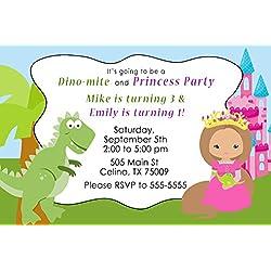 30invitaciones personalizable dinosaurio Princess Kids cumpleaños